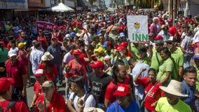 Venezuelanskt politiskt samlar av PSUV-regeringpartiet royaltyfri fotografi