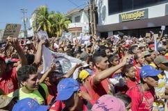 Venezuelanskt politiskt samlar av PSUV-regeringpartiet royaltyfri foto