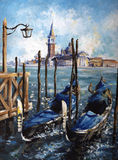 Venice. Gondolas in Venice acrylic painted.Picture I have created myself Royalty Free Stock Photos