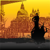 Venice. Vintage style illustration of Venice, with a Gondola on the Grand Canal with Salute in the background Royalty Free Stock Photography