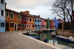 Venice. Colorful houses along one of the waterways of Burano, Venice Royalty Free Stock Photo
