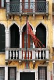 Venice: 14th Century Palace with the city's flag Stock Photos