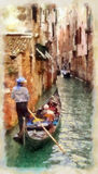 Venice. Small Canal in Venice. Italy. Watercolor