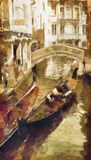 Venice. Small Canal in Venice. Italy. Oil painting
