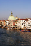 Venice. Canals and historic buildings with speedboats Royalty Free Stock Photos