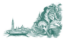 Venice. Handdrawn illustration of venetian carnival Royalty Free Stock Photo