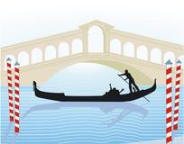 Venice. From Rialto Bridge with gondola vector illustration