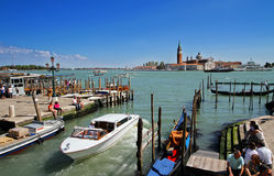 Venice. View of the sea​​, moored boats and gondolas Stock Images