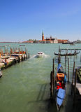 Venice. View of the sea​​, moored boats and gondolas Stock Photo