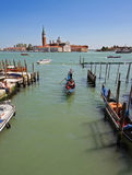 Venice. View of the sea​​, moored boats and gondolas Stock Photos