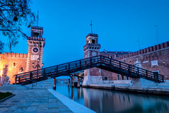 Venice. View of the Arsenale in Venice at twilight,Italy Stock Images