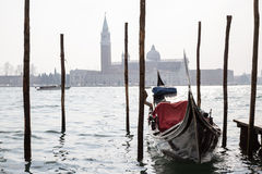 Venice. Venetian gondola and fog landscape stock photo