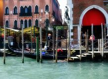 Venice. Street life: gondola near the market in Venice, Italy royalty free stock photo