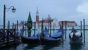 Venice. Gondola boats and Vaporetto in Venice, Italy, and San Giorgio Maggiore