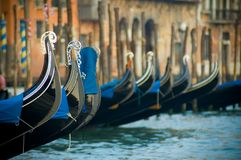 Venice. Godolas in Venice in Italy, peacefull and organized view Royalty Free Stock Image
