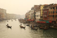 Venice. Gondolas floating on the canals of Venice, Italy