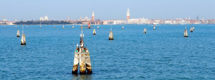 Venice. City seen across the water from the Lido of Venice Stock Images
