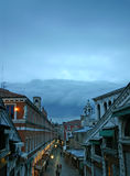 Venice. Storm cloud rolling in over Rialto Bridge in Venice Stock Photography
