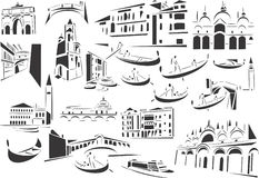 Venice. 20 themed EPS images related to Venice. The number of vector nodes is absolute minimum. The images are very easy to use and edit and are extremely smooth royalty free illustration