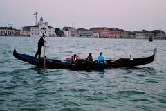 Venice. Italy, boat, water, lake, city, travel, sunset, tourists, town Stock Photos