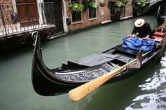 Venice. Canal and traditional boat called gondola Royalty Free Stock Photos