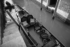 Venice. Gondola near steps - Venice, Italy. Duotone Royalty Free Stock Photo