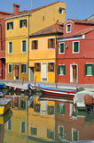 Venice. The bright pastel-coloured houses on Burano Island in the north of Venice's lagoon, Italy Royalty Free Stock Photography
