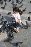Girl feeding pigeons Stock Photography