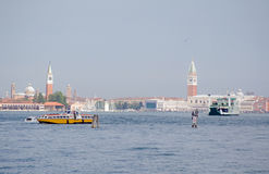 Venice across the Lagoon. View from Lido island across the lagoon to the centre of Venice with St Mark's Cathedral, the Doge's Palace and San Giorgio Maggiore in Royalty Free Stock Photography