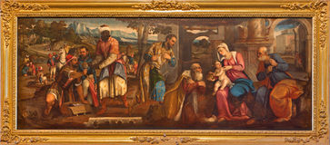 Venice - Adoration on Magi by Bonifacio de Pitati (1487 - 1553) from sacristy of church Baislica di Santa Maria Gloriosa dei Frari. Venice - The Adoration on Royalty Free Stock Photography