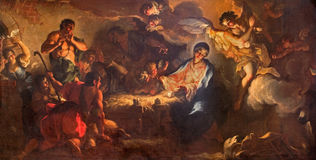 Venice - The Adoration of shepherds by Antonio Vassilacchi nickname l'Aliense (1556 - 1629) from Chiesa di San Zaccaria church. Royalty Free Stock Images