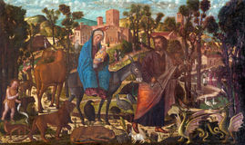 Venice - Adoration of the Shepherds paint by Giovanni Manuseti from 14. cent. in church of San Martino of Saint Martin on Burano Stock Image