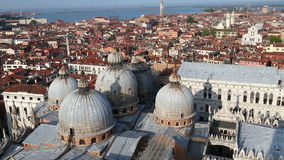 Venice aerial view of looking over Basilica di San Marco roof view in San Marco square stock footage