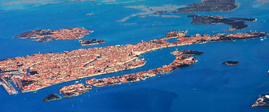Venice by air. Image of Venice from airplane Royalty Free Stock Photos