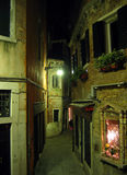 Venice alley. Narrow venice alley at night stock image