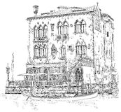 Venice. Ancient building & gondola Royalty Free Stock Photography