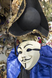 Venice Anonymous Carnival Mask. Detail of an Anonymous mask at Venice Carnival for sale royalty free stock images