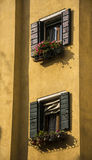 Venice Apartment. Windows on apartment in Venice with flowers Stock Image