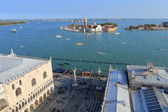 VENICE - APRIL 9, 2017: The view from above on Island of San Gio. Rgio Maggiore, on April 9, 2017 in Venice, Italy Stock Photos