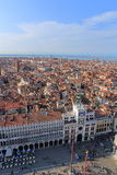 VENICE - APRIL 9, 2017: The view from above on Venice and San Ma. Rco Square near the Zodiac Clock Tower, on April 9, 2017 in Venice, Italy Stock Photography