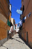 VENICE - APRIL 10, 2017: The view on alley in Venice. Laundry dr Stock Photo