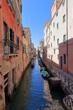 VENICE - APRIL 10, 2017: The view on Canal in Venice, on April 1. 0, 2017 in Venice, Italy Stock Photos