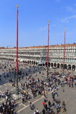VENICE - APRIL 9, 2017: The view on San Marco Square with touris Royalty Free Stock Photos