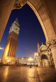 Venice arch. San Marco place, Campanile Royalty Free Stock Photo