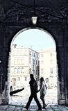 Venice Arch with Canal and People Royalty Free Stock Images