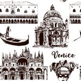 Venice architectural symbols seamless pattern  set: Carnival mask, palazzo, basilica, San Marco, gondola. sketch. Venice architectural symbols seamless pattern Stock Images