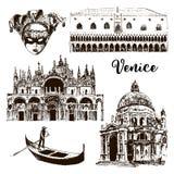 Venice architectural symbols: Carnival mask, palazzo, basilica, San Marco, gondola etc drawn  sketch illustration Stock Images
