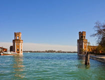 Venice, Arsenal entrance from the lagoon Royalty Free Stock Photos