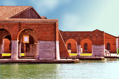 Venice, Arsenale - inner harbour. Inner harbour of the Arsenale of Venice, opened to public for the 54th Art Biennale 2011 stock image