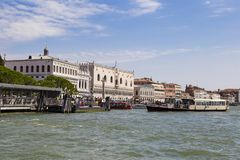 Venice attractions: view of the San Marco Square from the sea. V. Enice, Italy 2017-08-22 Royalty Free Stock Photos